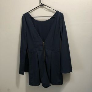Gianni bini Navy long sleeve romper v cut back